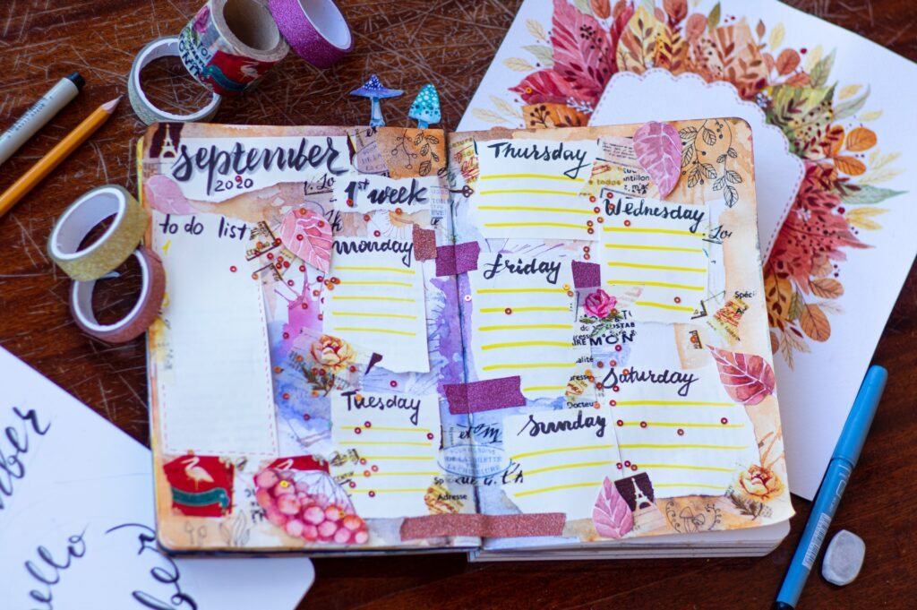 An image of a beautiful handmade planner, which is great for time management, if you ask me.