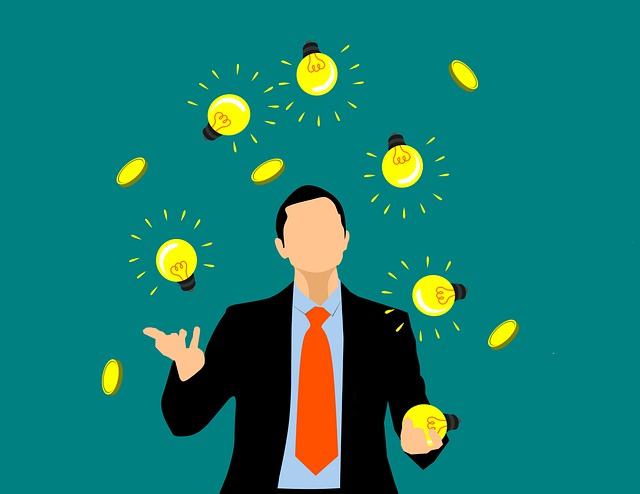 An image of a person joggling with lighting bulbs and coins, a great illustration of energy and/or time management.